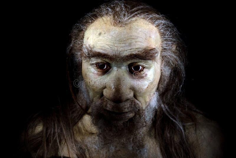 Homo sapiens man isolerat på svart royaltyfri fotografi