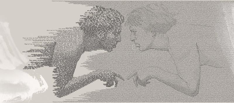 Homo-tacto de Ecce de la cognición del uno mismo ilustración del vector