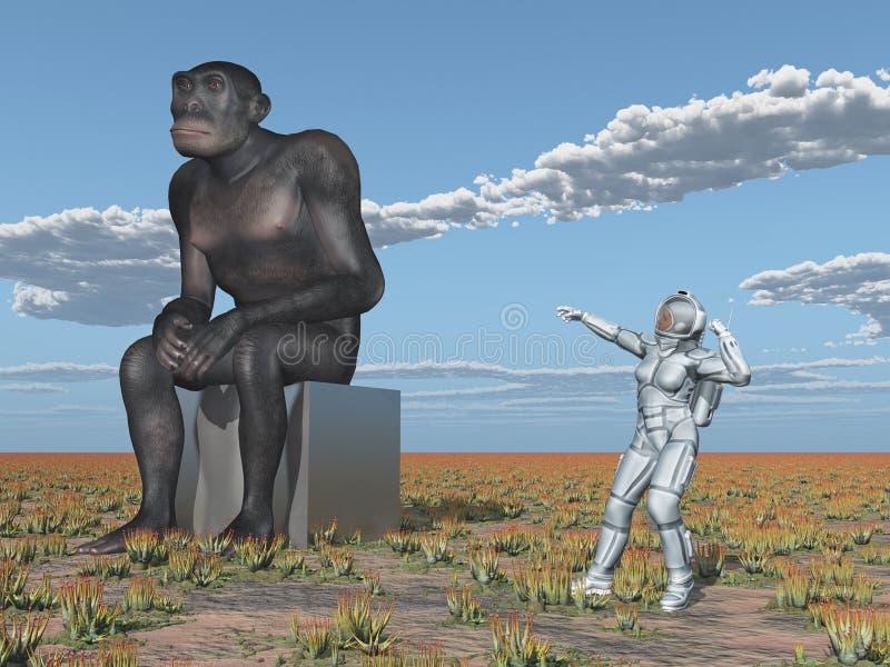 """Homohabilis och mänsklig evolution för kvinnlig astronaut†"""" vektor illustrationer"""