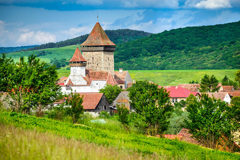 Homorod, Versterkte Kerk in Transsylvanië - Roemenië royalty-vrije stock fotografie