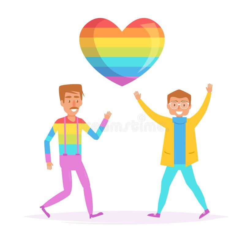 Homoseksualiści tanczy LGBTQ wektor ilustracja wektor