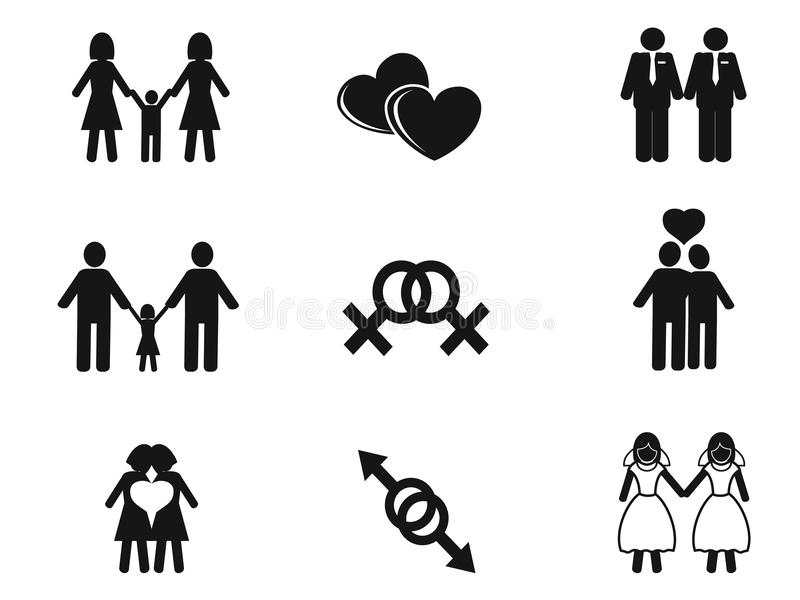 Homoseksualista i lezbijka ikony ustawiać ilustracja wektor