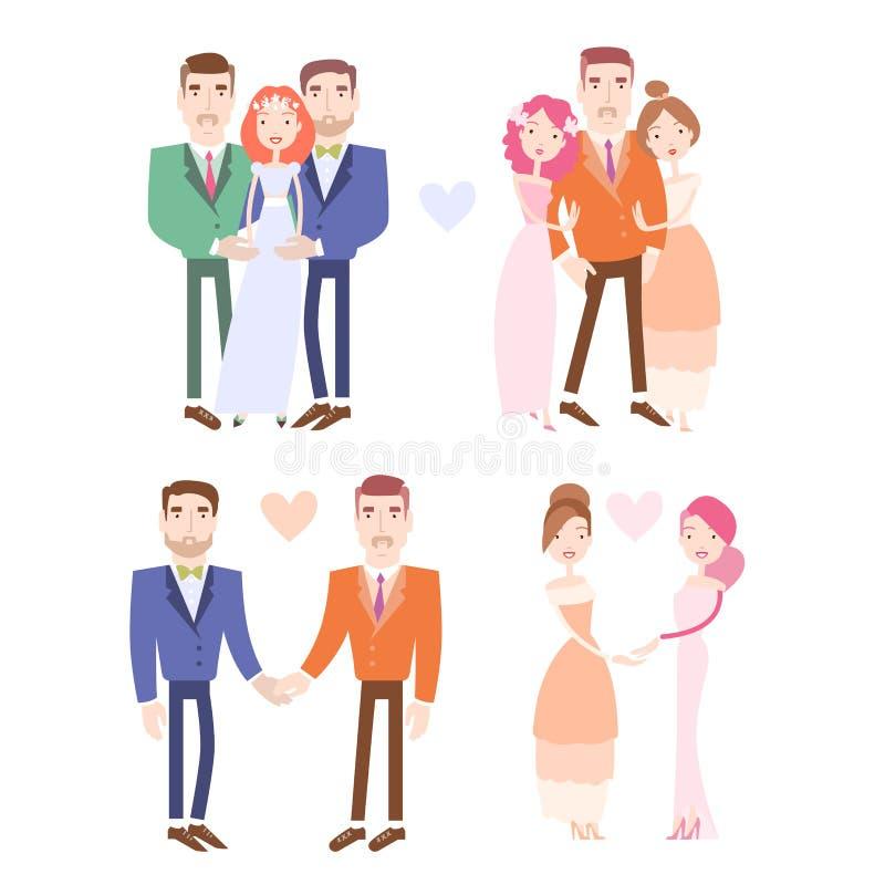 Homoseksualista i lezbijka pary dostaje poślubiający ilustracji
