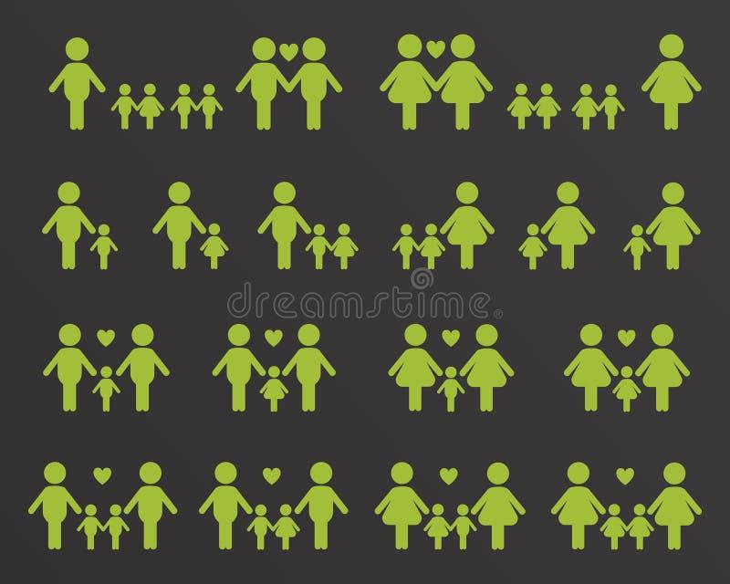 Homoseksualista i lezbijka rodzinne ikony ilustracji