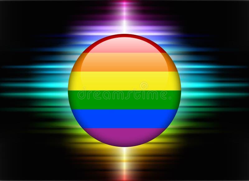 Homoseksualista ikony Chorągwiany guzik na Abstrakcjonistycznym widma tle ilustracja wektor