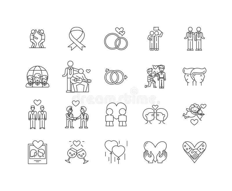 Homoseksualista kreskowe ikony, znaki, wektoru set, kontur ilustracji pojęcie ilustracja wektor