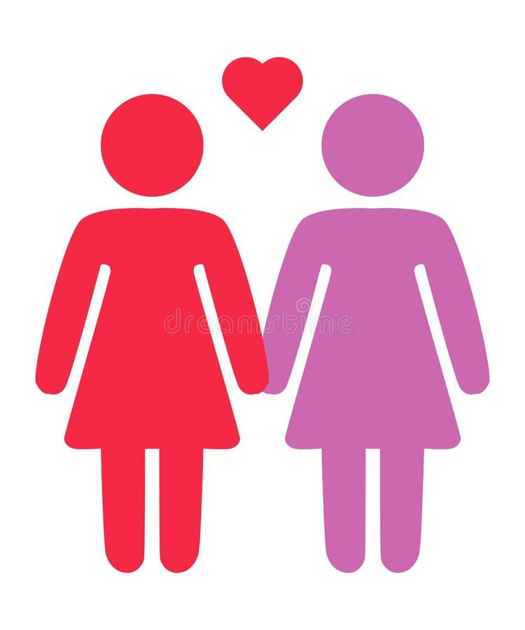 Homoseksualista, lesbian pary i rodzina z dziecko ikonami, ilustracja wektor