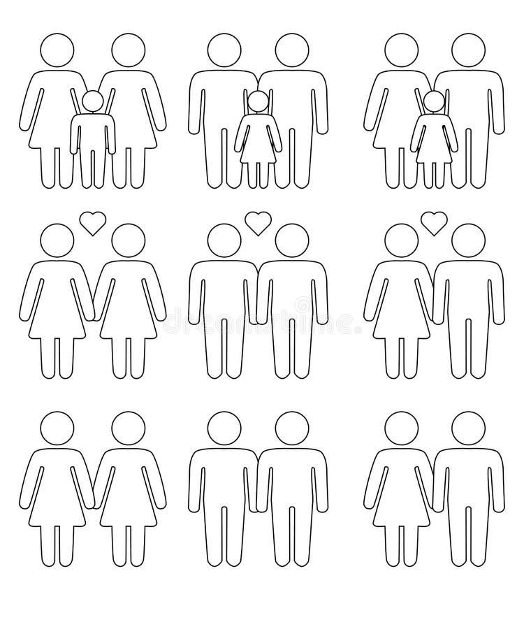 Homoseksualista, lesbian pary i rodzina z dziecko ikonami ustawiać, royalty ilustracja