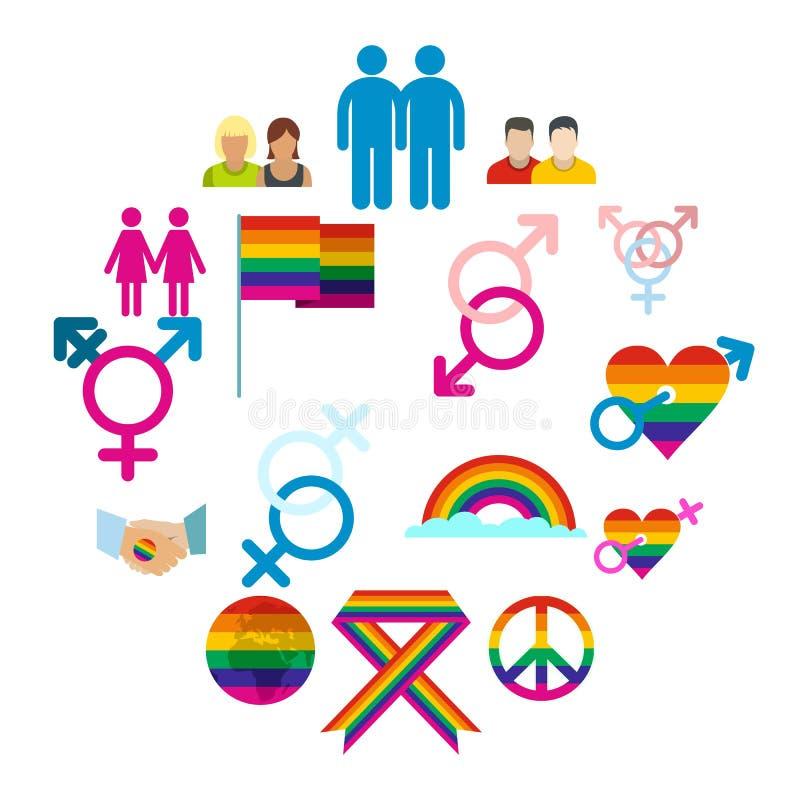 Homoseksualista płaskie ikony ustawiać ilustracji