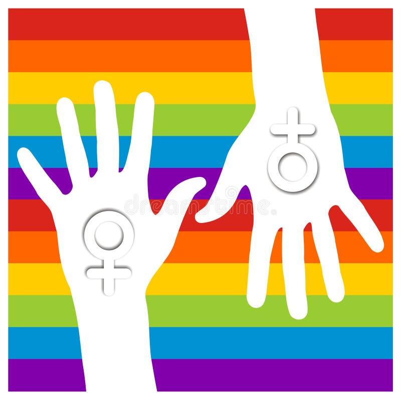 homoseksualista wręcza lesbian ilustracja wektor