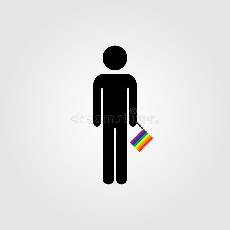Homoseksualista z LGBT tęczy flaga ilustracja wektor