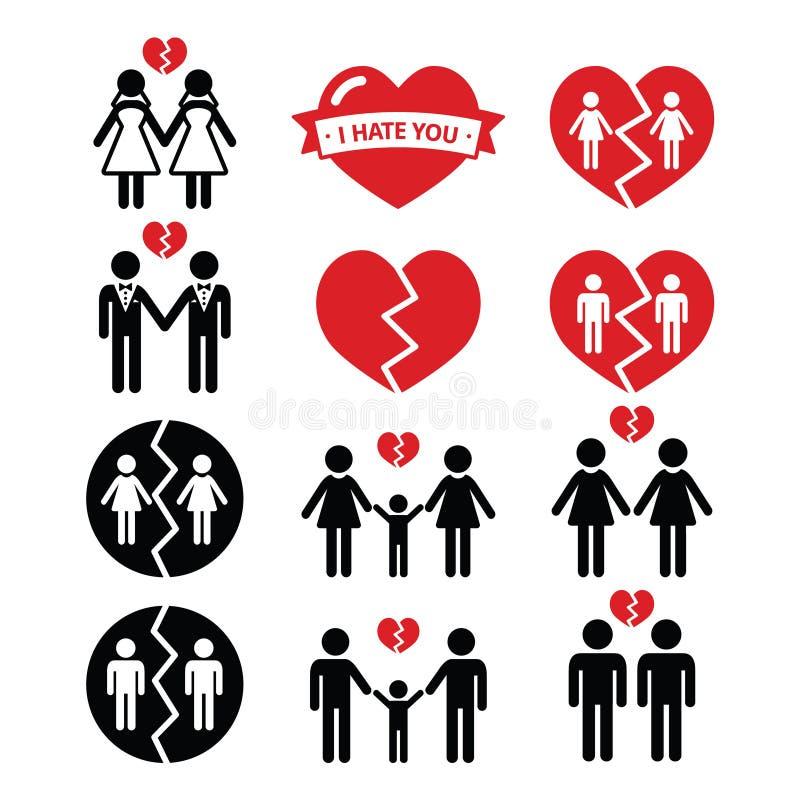 Homoseksualisty lub lesbian pary rozbicie, rozwodowe ikony ustawiać royalty ilustracja