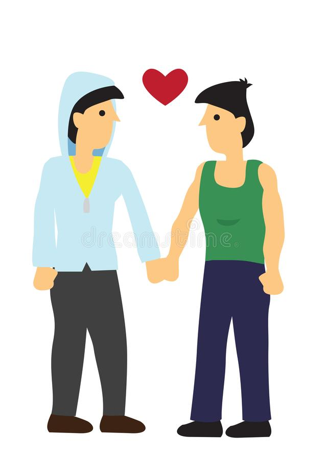 Homoseksualna para patrzeje each inny z miłością Poj?cie mi?o?? i romans ilustracja wektor