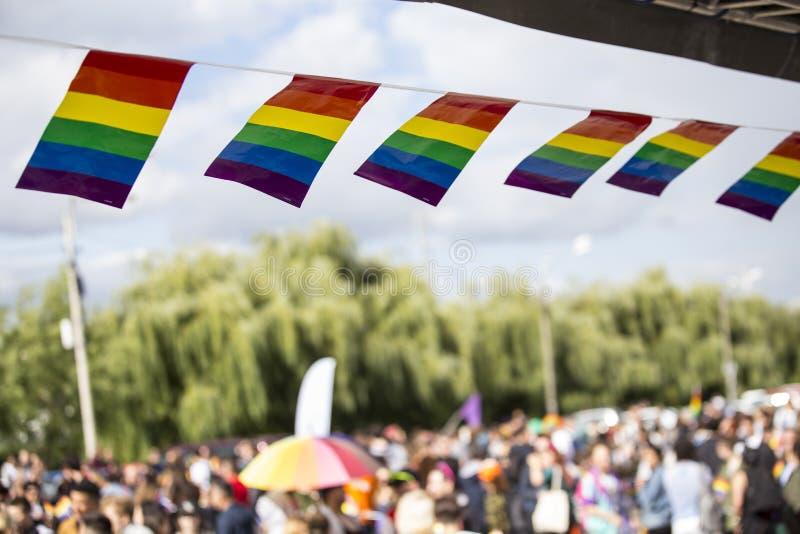 Homoseksualna parada w parku zdjęcia royalty free