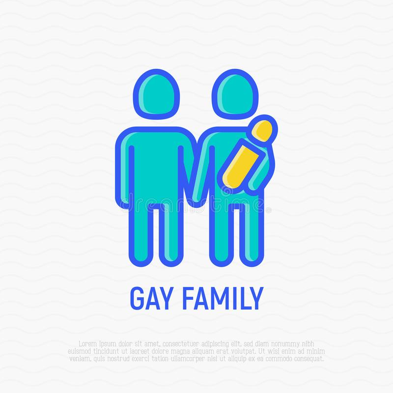Homoseksualna rodzina z dziecko cienką kreskową ikoną ilustracji