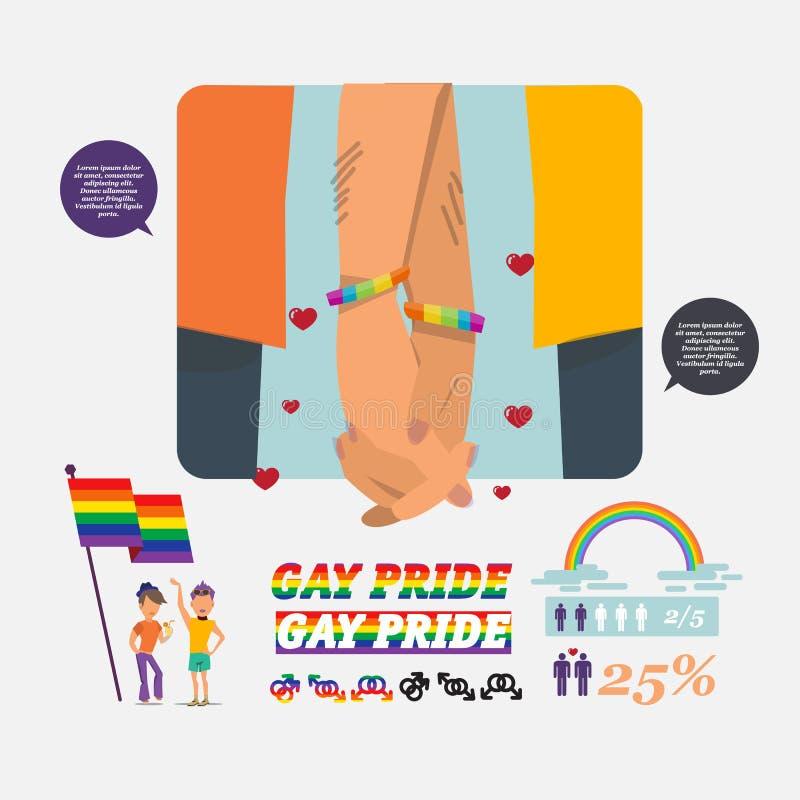 Homoseksualne pary mienia ręki z setem homoseksualna ikona flagi tęcza - v royalty ilustracja