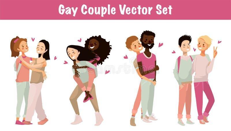 Homoseksualnego para wektoru ustalona ilustracja odosobniony śliczny homoseksualista dobiera się na białym tle postać z kreskówki royalty ilustracja