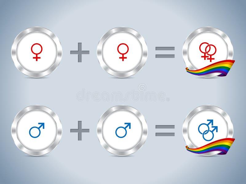 Homoseksualni lesbian symbole z flaga i odznakami ilustracja wektor
