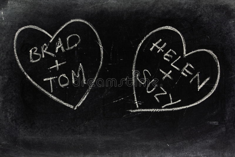 Homoseksualni miłość serca na Blackboard obraz royalty free