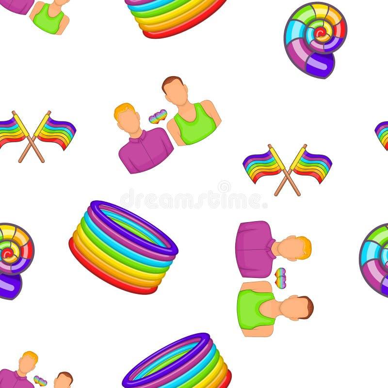 Homoseksualni para symbole w tęcza kolorów wzorze ilustracji