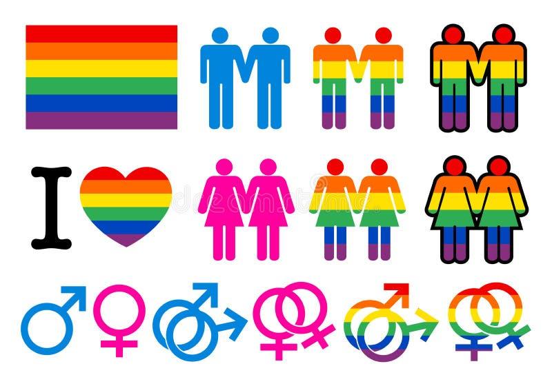 Homoseksualni pictogrammes ilustracja wektor