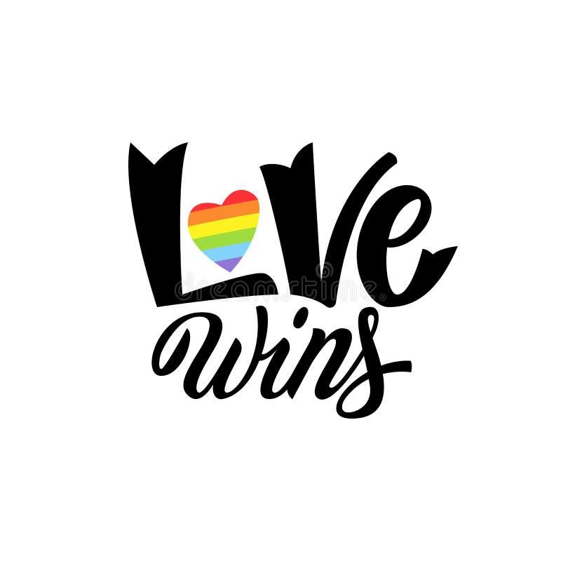 Homoseksualny literowanie Konceptualny plakat z LGBT tęczy ręki literowaniem Kolorowej błyskotliwości zwrota miłości ręcznie pisa royalty ilustracja