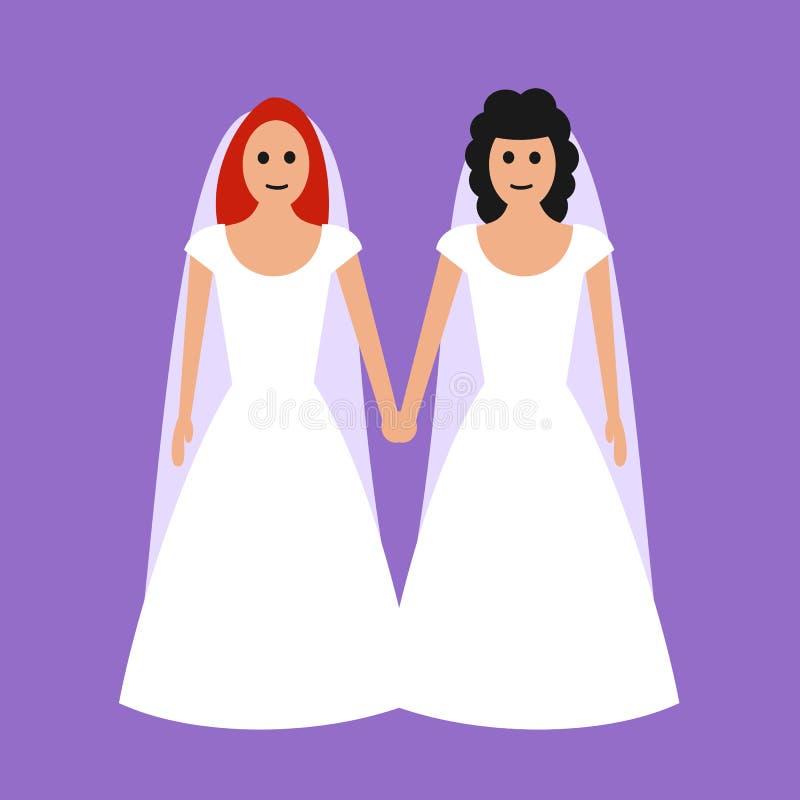 Homoseksualny nad lesbian małżeństwo ilustracji