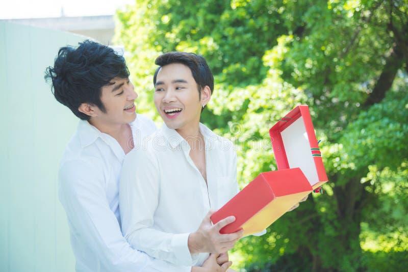 Homoseksualny pary otwarcia bożych narodzeń prezenta pudełko z uśmiechem zdjęcie stock