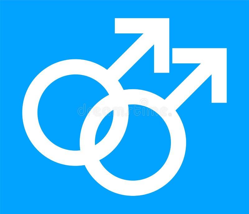 Homoseksualny symbol w Błękitnym koloru tle Homoseksualna orientacji seksualnej ikona Wektorowy Homoseksualny rodzaju znak ilustracji
