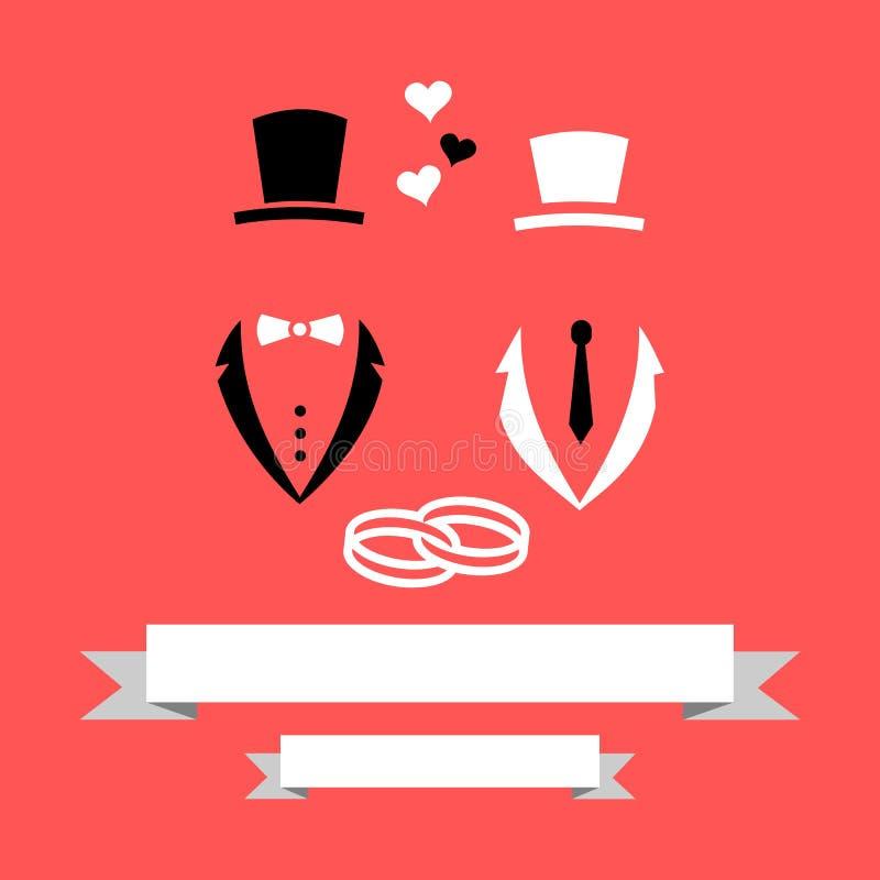 Homoseksuele Vrolijke de Uitnodigingskaart van And Groom Marriage van de Huwelijksbruidegom met Banner & Ringen Vlakke Moderne Ve stock illustratie