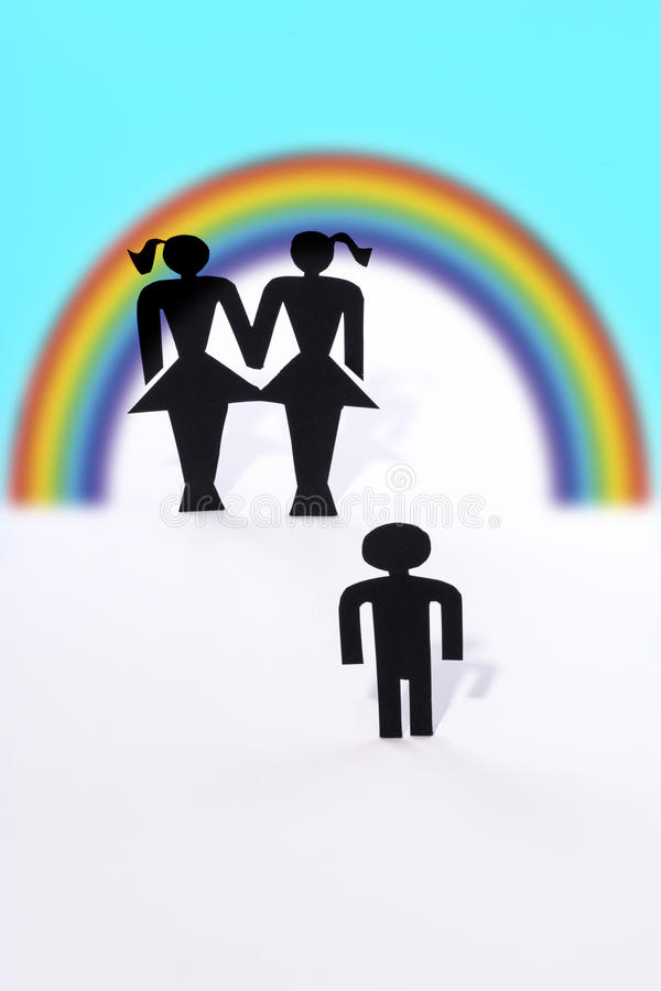 Homosexual couple with child, figurines, same-sex marriage, wish for child royalty free stock photos