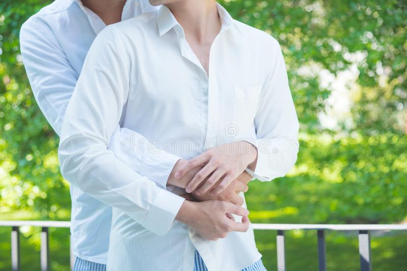 Homosexual male couple hugging with partner royalty free stock photo