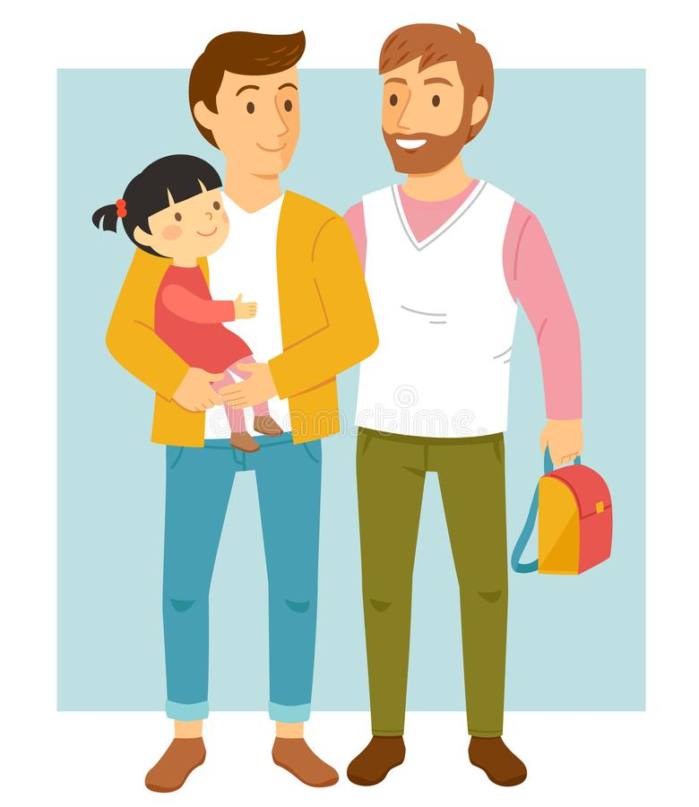 Homosexual parents with their daughter. Happy male gay couple holding their adopted daughter and smiling happily vector illustration