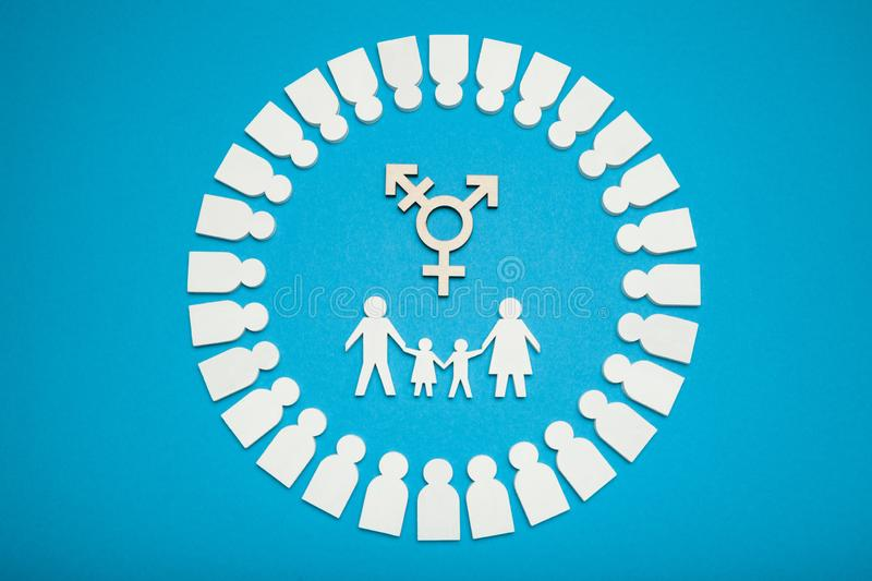 Homosexual people family concept. Adoption transgender couple royalty free stock images