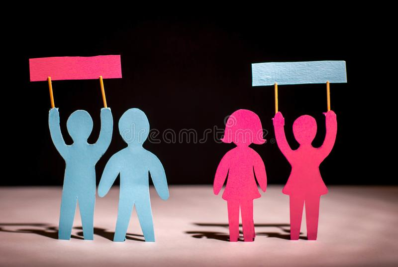 The concept of discrimination of same-sex families. Gays and lesbians. Homosexual violence political illustration strike stock image