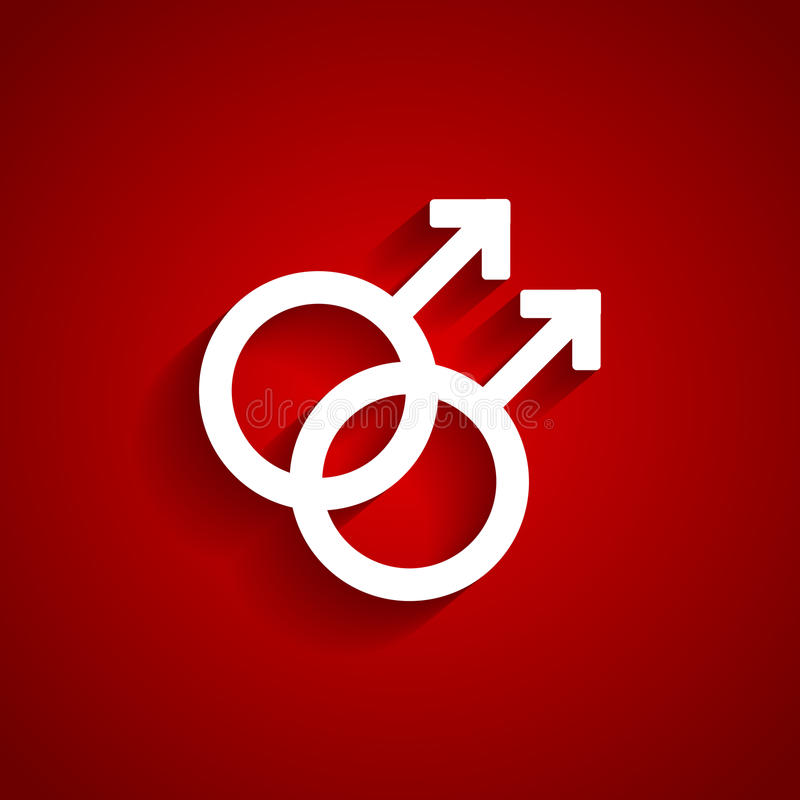 Homosexual white symbol. On red background royalty free illustration