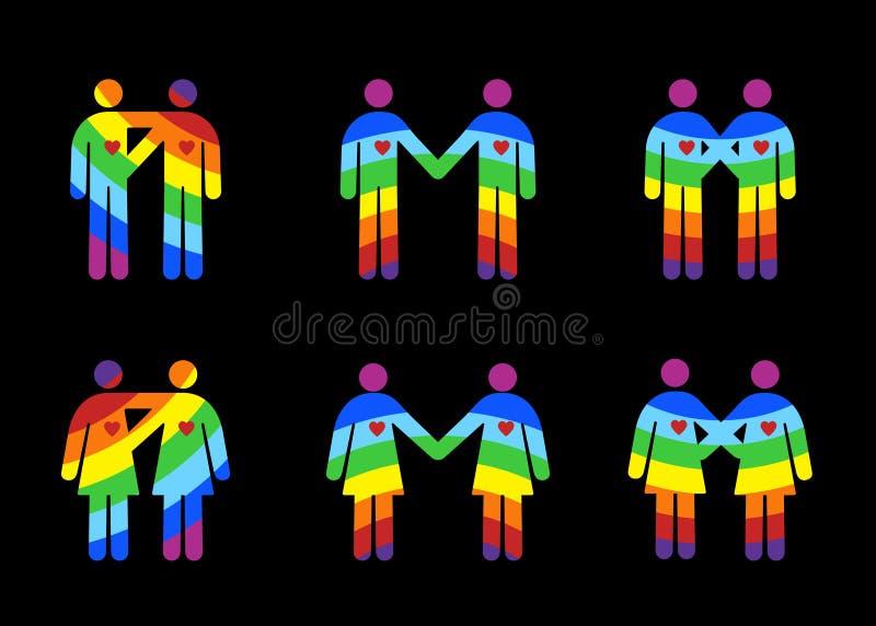 Homosexual y la lesbiana junta pictogramas stock de ilustración