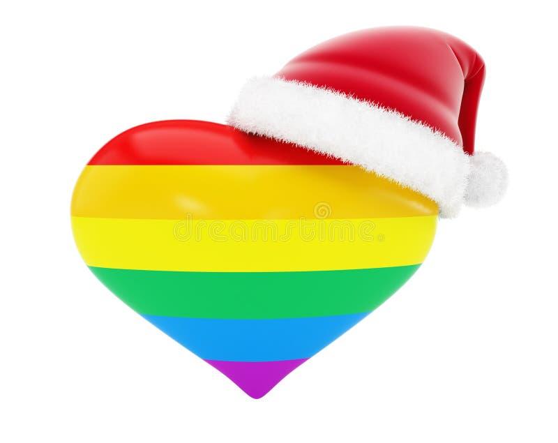 Homosexualitethjärtasanta hatt på illustrationer 3d vektor illustrationer