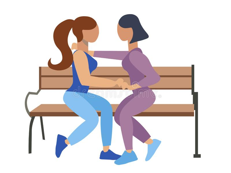 Homosexuality, lesbian. Two girls romantically sit on a bench. Flat style. Cartoon vector stock illustration