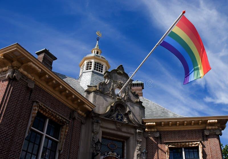 Homosexuel Pride Zandvoort de drapeau d'arc-en-ciel images libres de droits