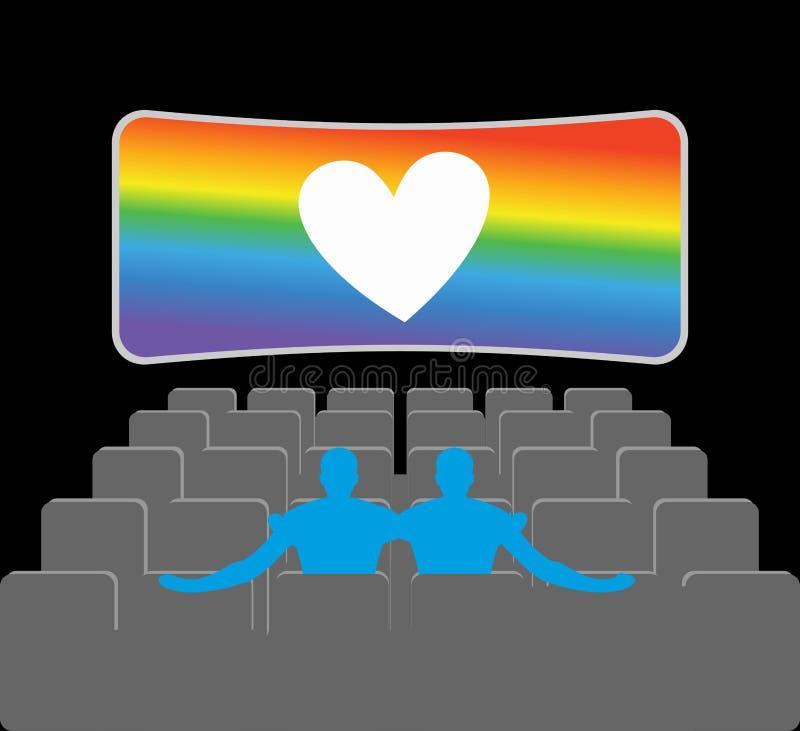 Homosexuelen in theater Twee blauwe mensen in bioskoopzaal Plaatsen voor kussen vector illustratie