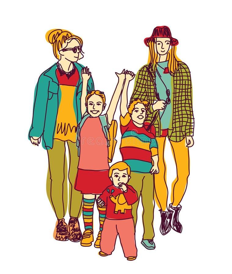 Homosexuella glade lesbiska par och ungar för kvinnalgbtfamilj stock illustrationer