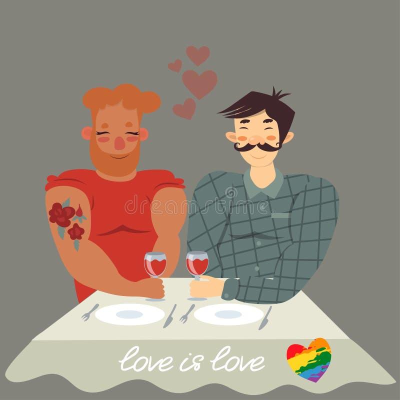 Homosexuella par på matställen på tabellen med exponeringsglas av vin illustration royaltyfri illustrationer