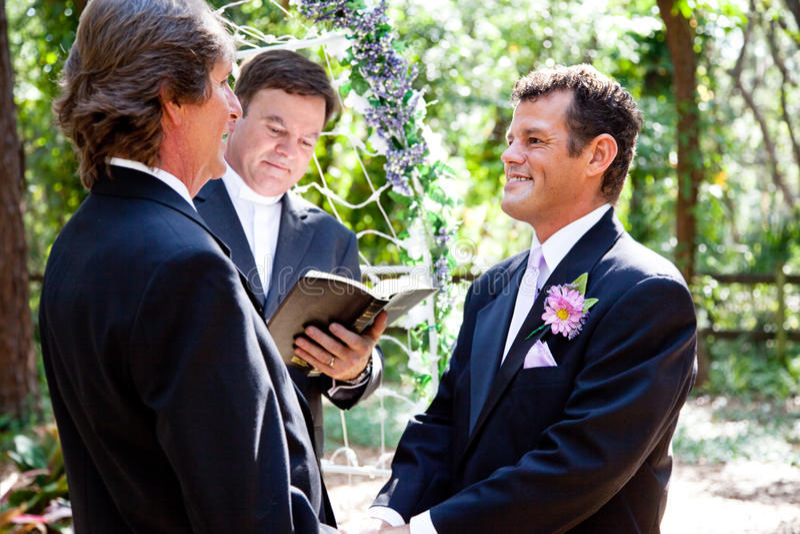 Homosexuelle heiratende Paare stockbilder