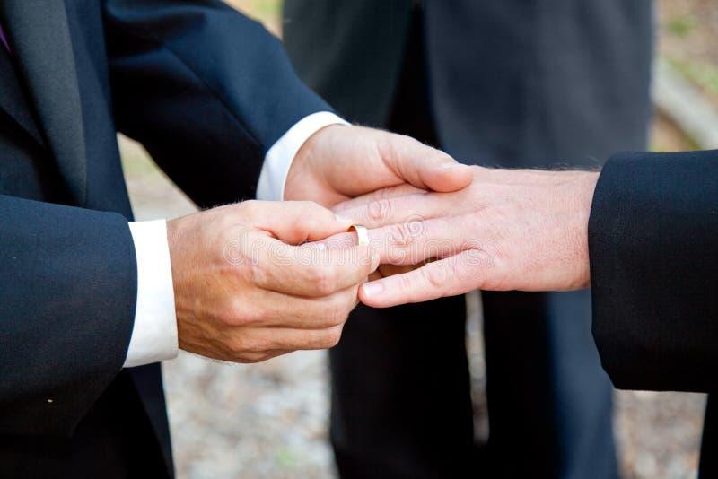 Homosexuelle Hochzeit - Austausch von Ringen stockfoto