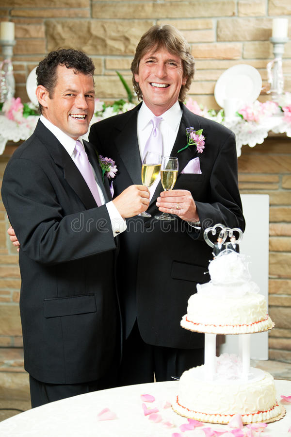 Homosexuelle Hochzeit - Champagne-Toast lizenzfreie stockbilder