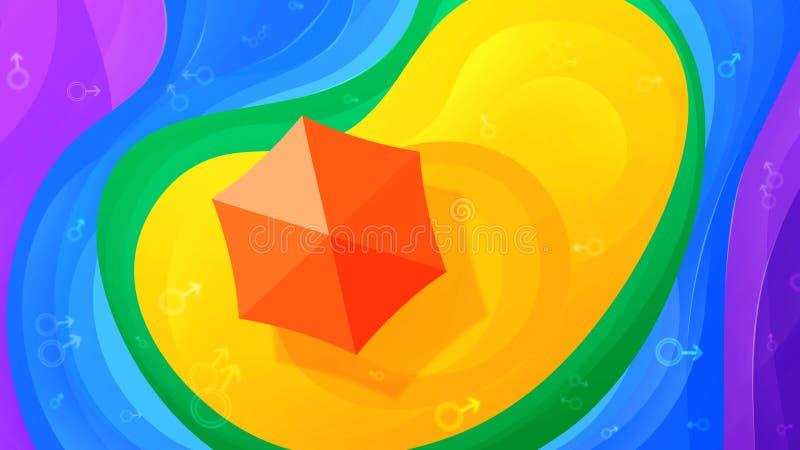 Homosexuelle Insel Paradises Abstrakter Sommerregenbogenhintergrund mit Raum für Text Festliches helles mehrfarbiges LGBT-Konzept stock abbildung