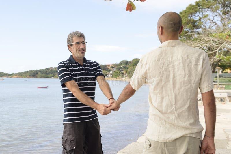 Homosexuelle Paar-Holding-Hände stockfotografie
