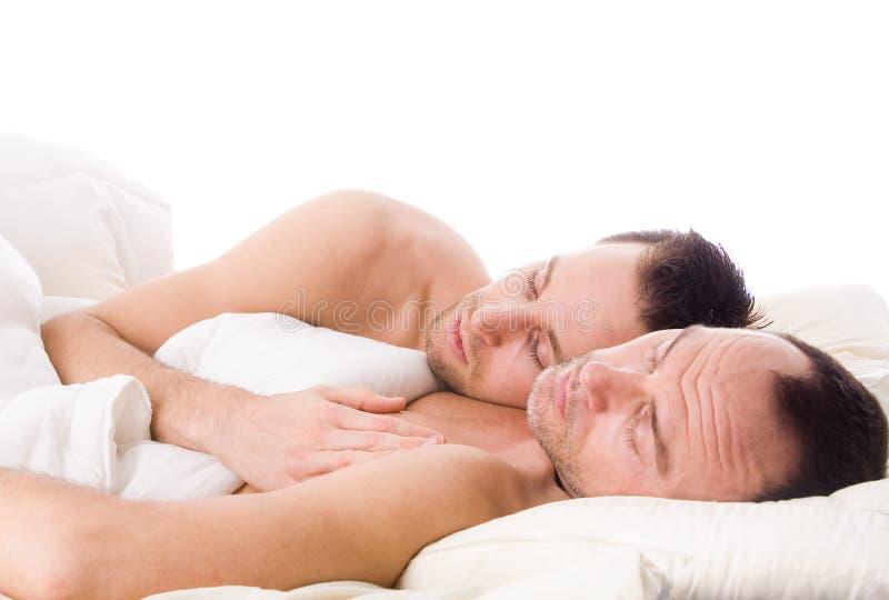 Homosexuelle Paare Schlafens lizenzfreie stockfotografie
