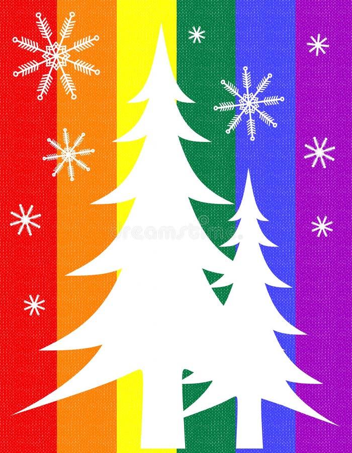 Homosexuelle Stolz-Markierungsfahnen-Weihnachtsbaum-Karte lizenzfreie abbildung